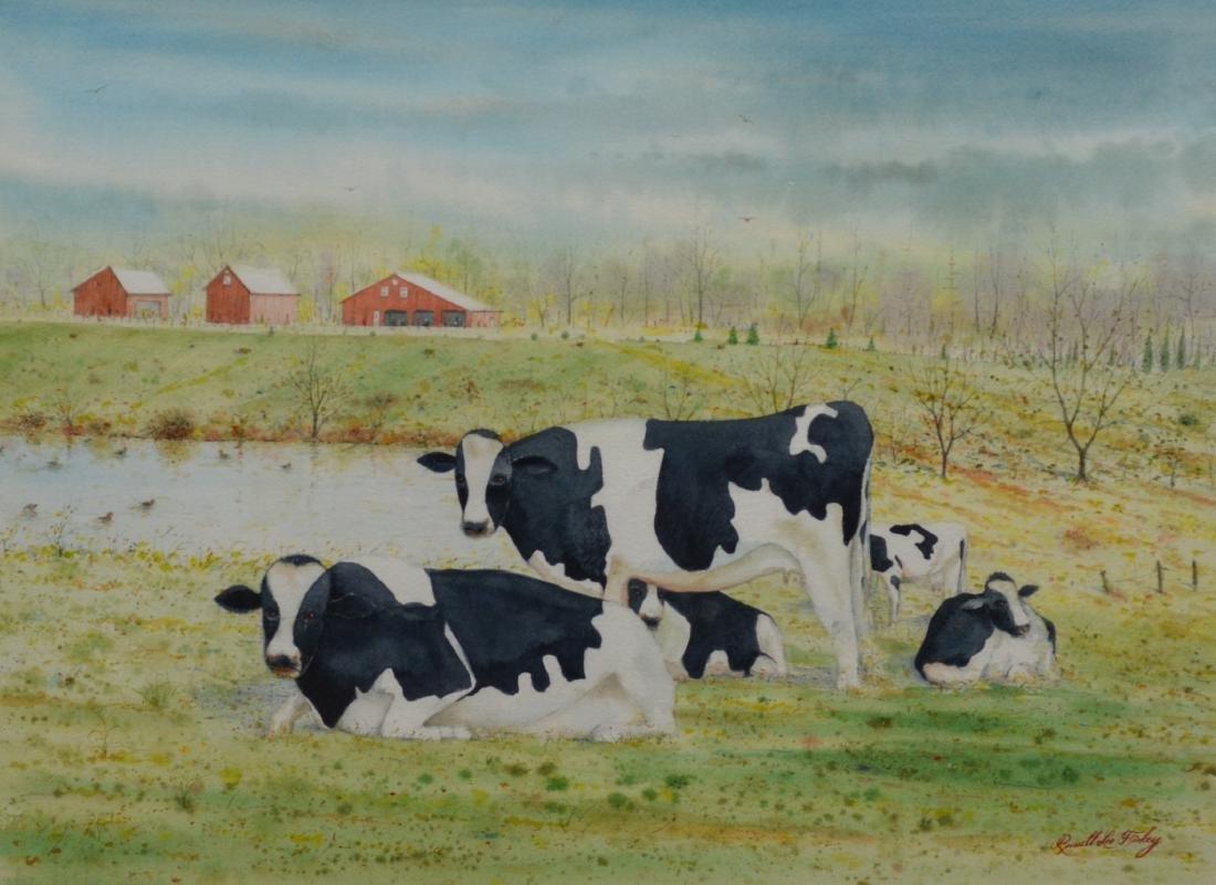 Russell Lee Finley watercolor farm landscape cows