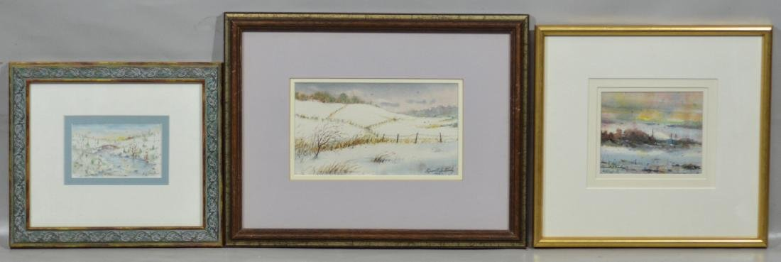 Russell Lee Finley  three (3) watercolor landscapes