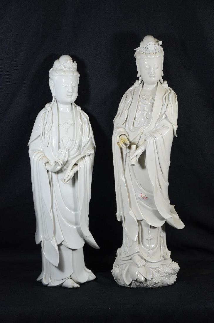 Pair of Chinese blanc de Chine figures of Guanyin