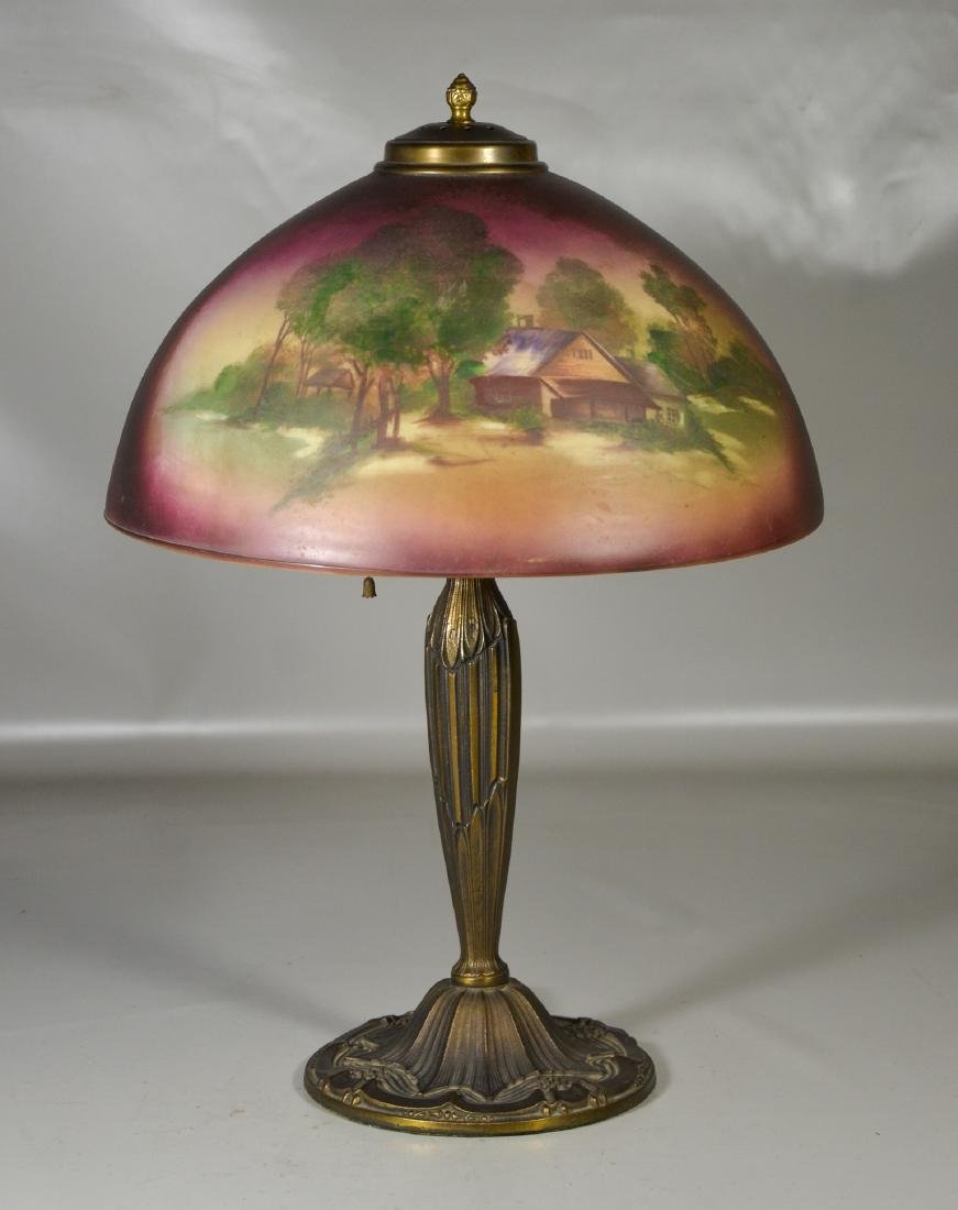 Reverse Glass Painted Table Lamp