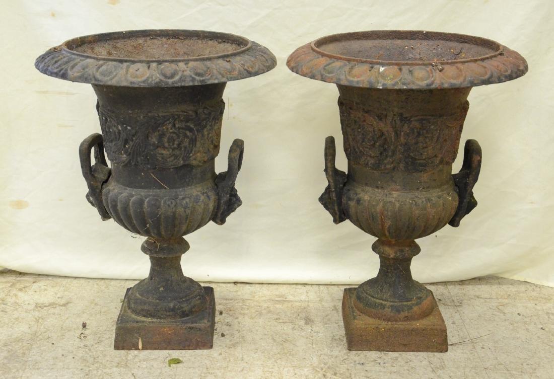 Pr cast iron planters with loop handles