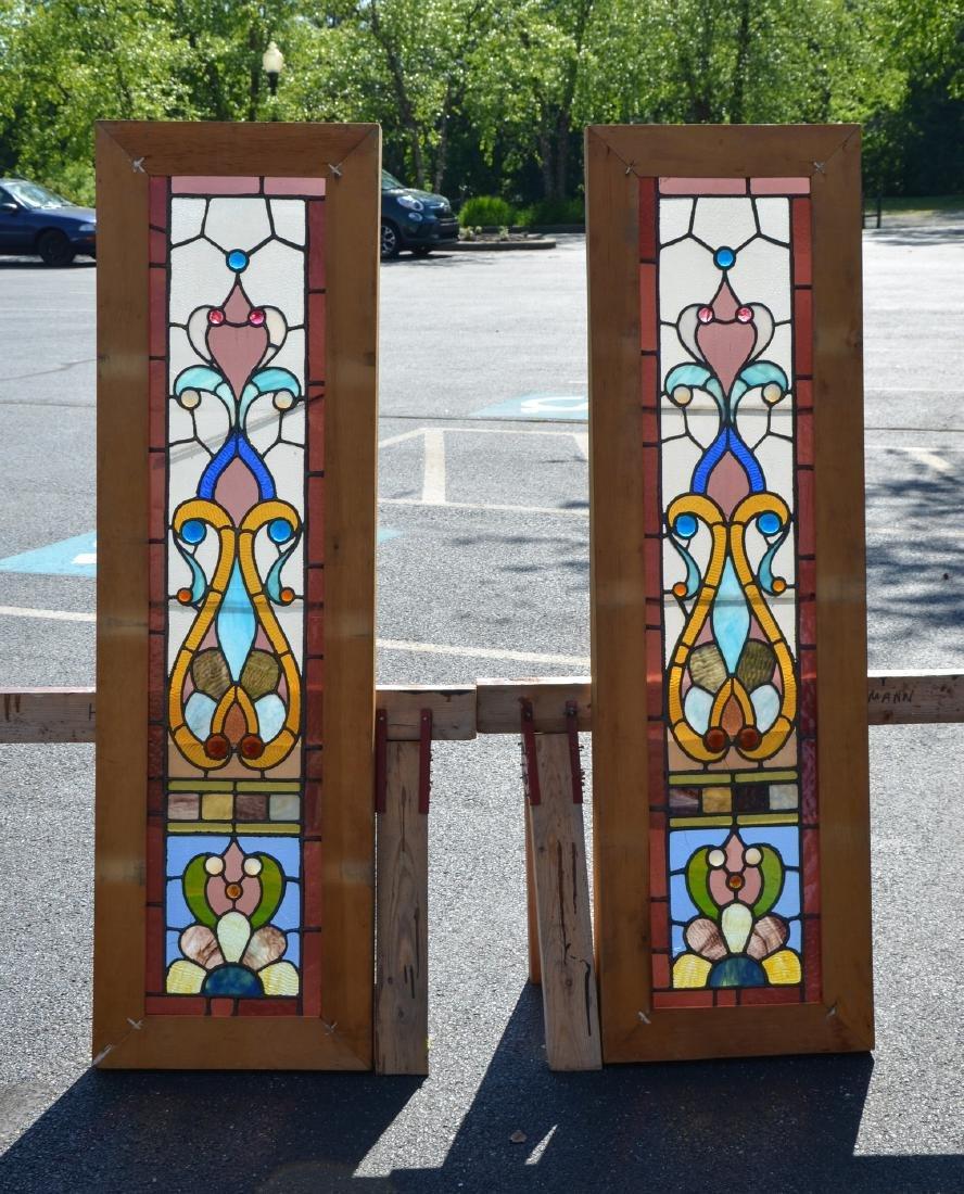 Pr oak framed stained glass windows