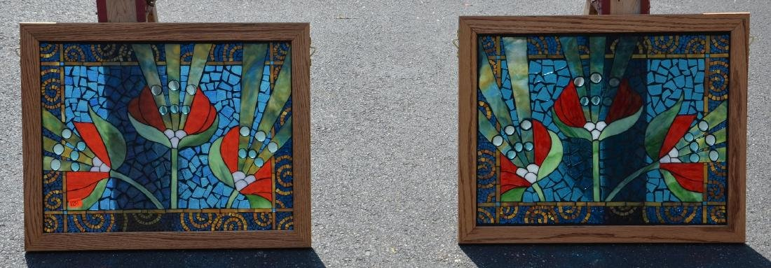 """(2) stained glass panels, 21 1/2"""" x 17 1/2"""""""
