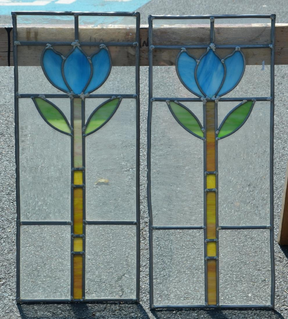"""(2) stained glass panels, 11"""" x 26"""""""