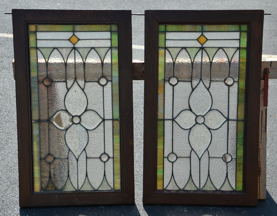 """(2) stained glass panels, 24 1/4"""" x 34 1/4"""""""