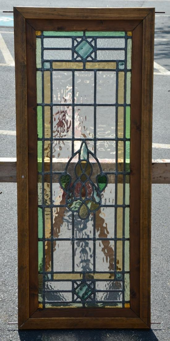 """Stained glass panel, 19 3/4"""" x 46 3/4"""""""