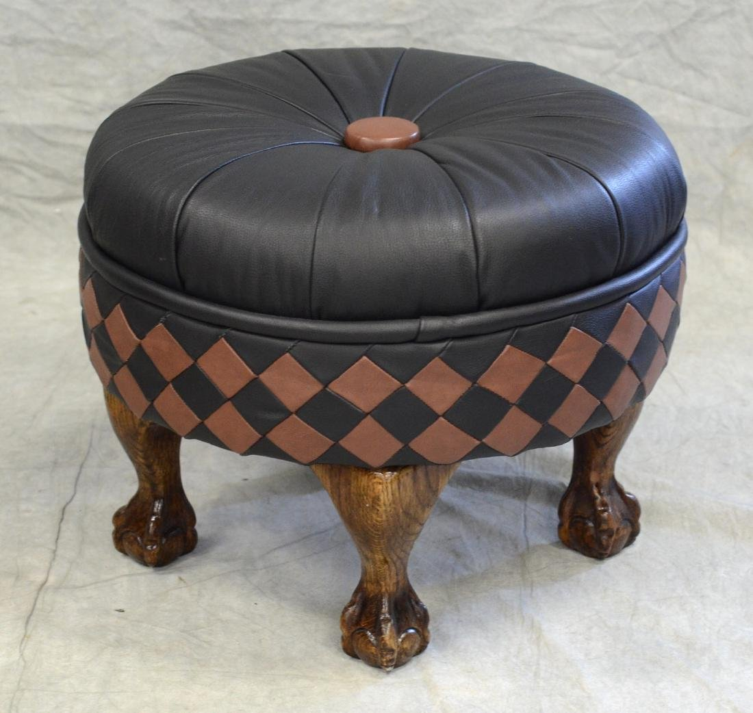 Footed Leather Tufted Ottoman