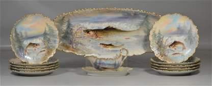 (13) Pc Limoges Fish Set