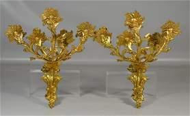 Pr Gilt Bronze Louis XV 5Arm Sconces