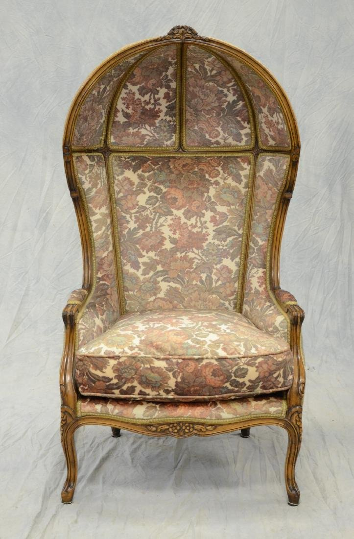 Louis XIV Style Hooded Wing Chair