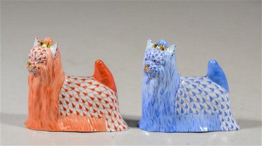 (2) Herend Yorkie Dog Figurines