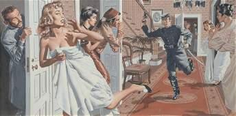 James Bama, Mad Soldier in Brothel, orig illustration