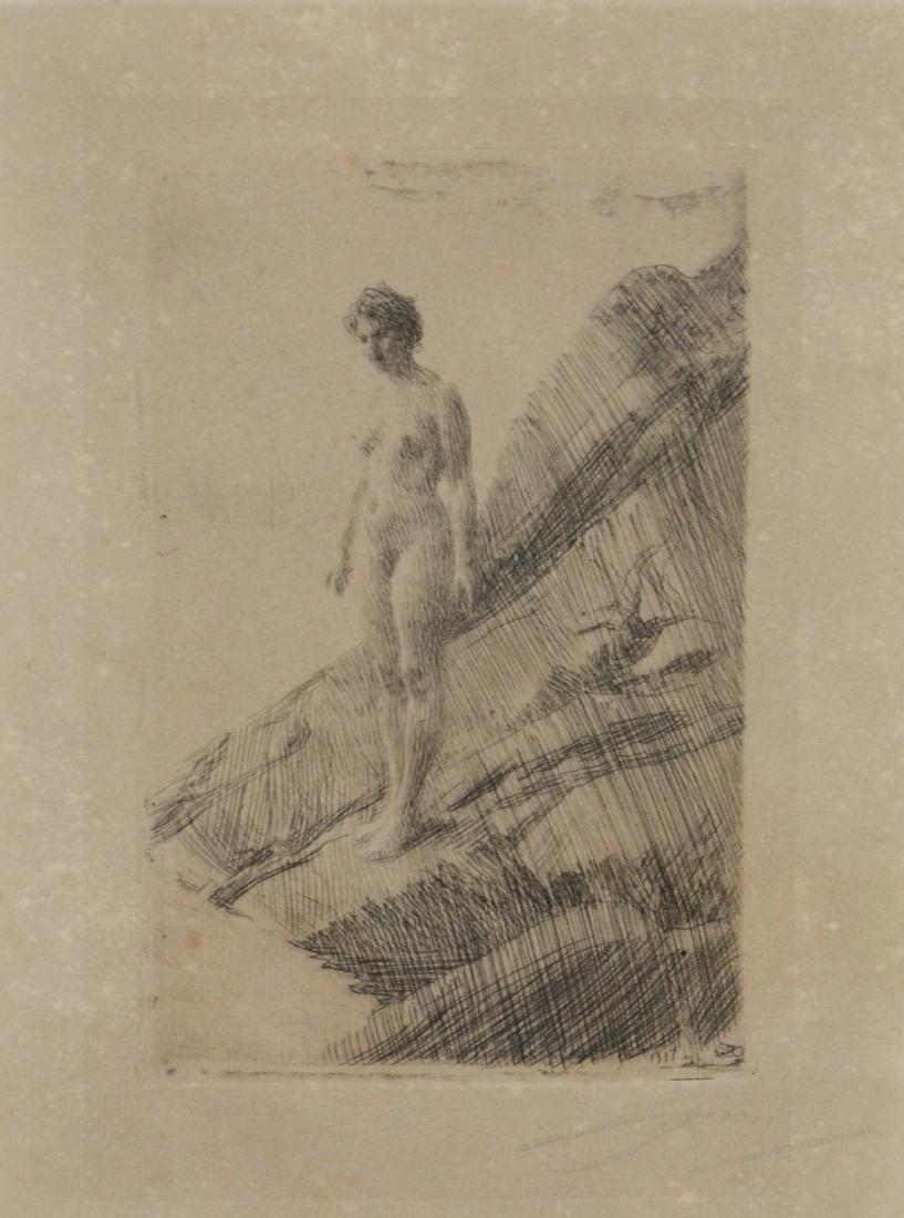 """Anders Zorn (Swedish 1860-1920), Etching, """"Edo"""""""