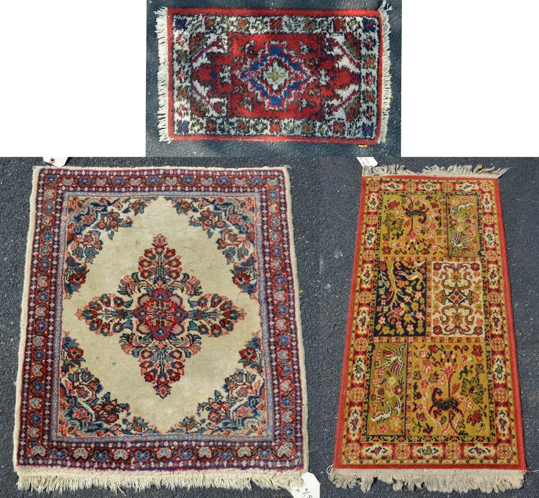 (3) Indo Persian Throw Rugs