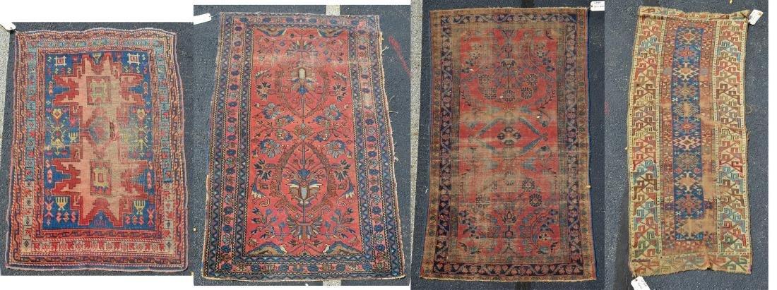 (4) Persian/Caucasian Throw Rugs