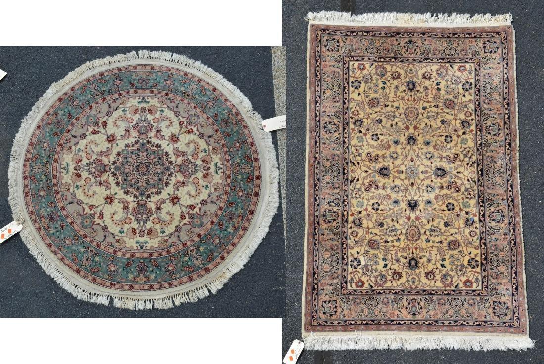 (2) Rugs:  Round Persian Carpet and Indo Keshan Rug