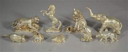 9 Silver animal figurines