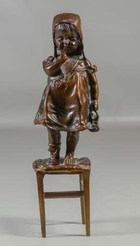 Bronze Figure Of Young Girl On Stool