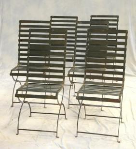 (6) Metal Mid-century Style Slat Back Patio Chairs