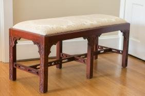 Mahogany Finish Chinese Chippendale Style Bench