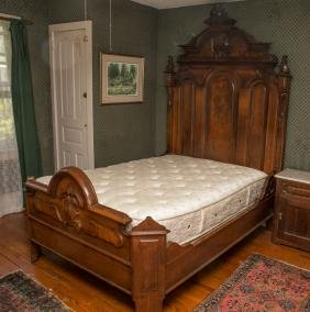 Carved Walnut Renaissance Revival Double Bed