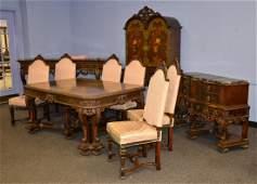 10 Pc Walnut Italian Renaissance dining room set