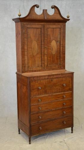 19th C Federal Bookcase On Desk