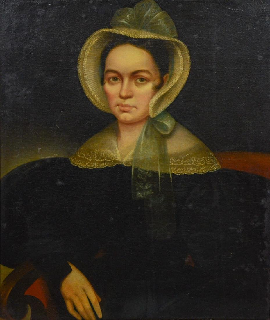 19th C portrait painting of a lady, oil on canvas,