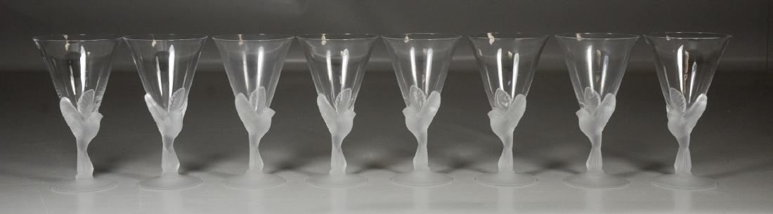 8 Lalique style frosted glass wine glasses, bird dove