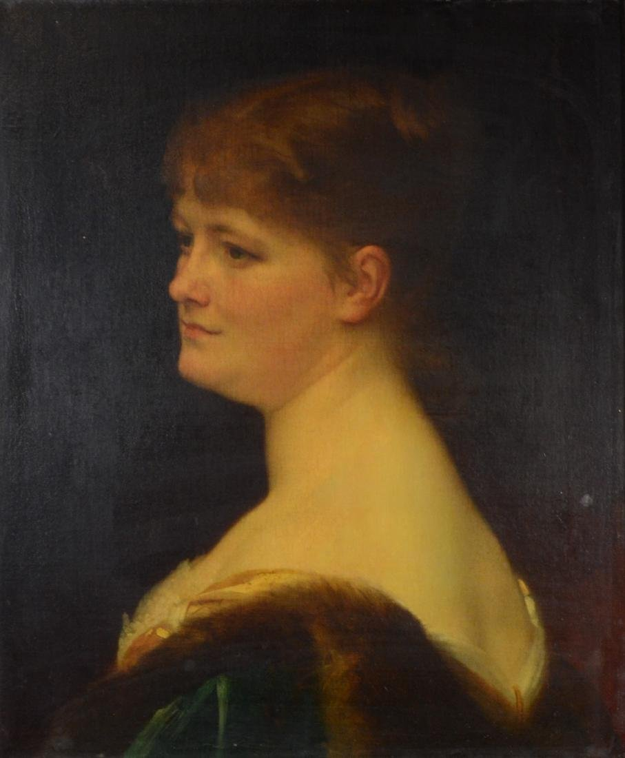 Antique portrait painting of a lady, oil on canvas,