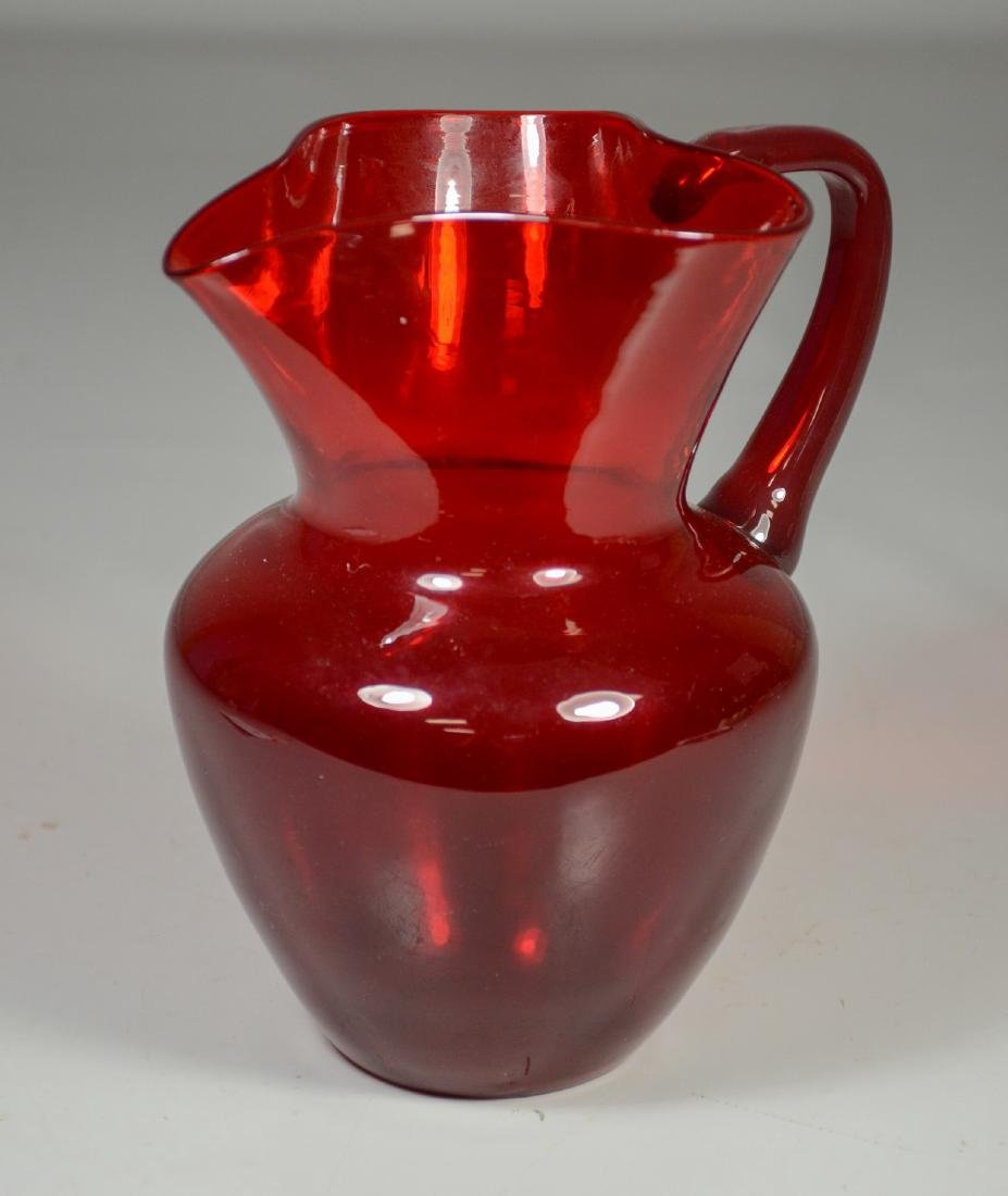 Venini art glass ruby pitcher, signed, original label