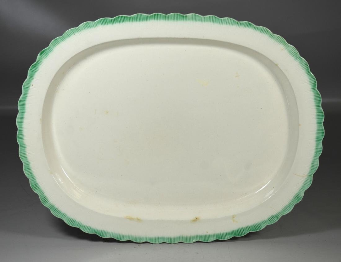 "Leeds green feather edged platter, approx 2"" hairline"