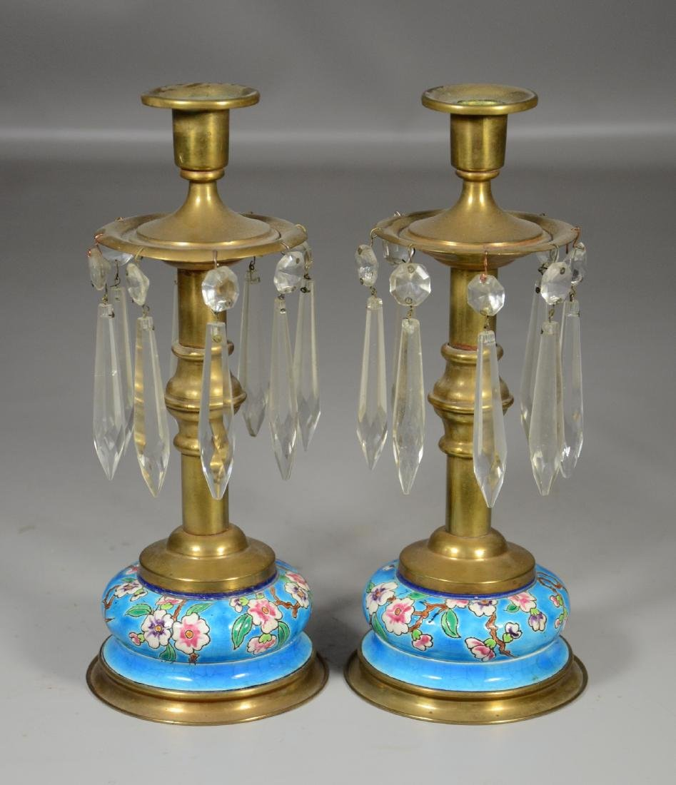 Pr brass and Longwy style candlesticks with prisms