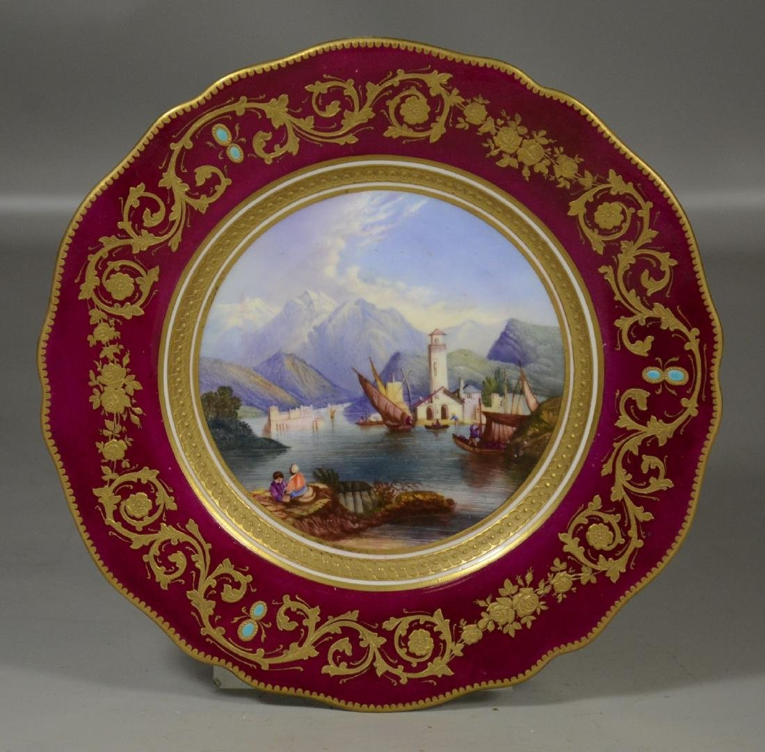 Royal Worcester scenic plate, burgundy border with