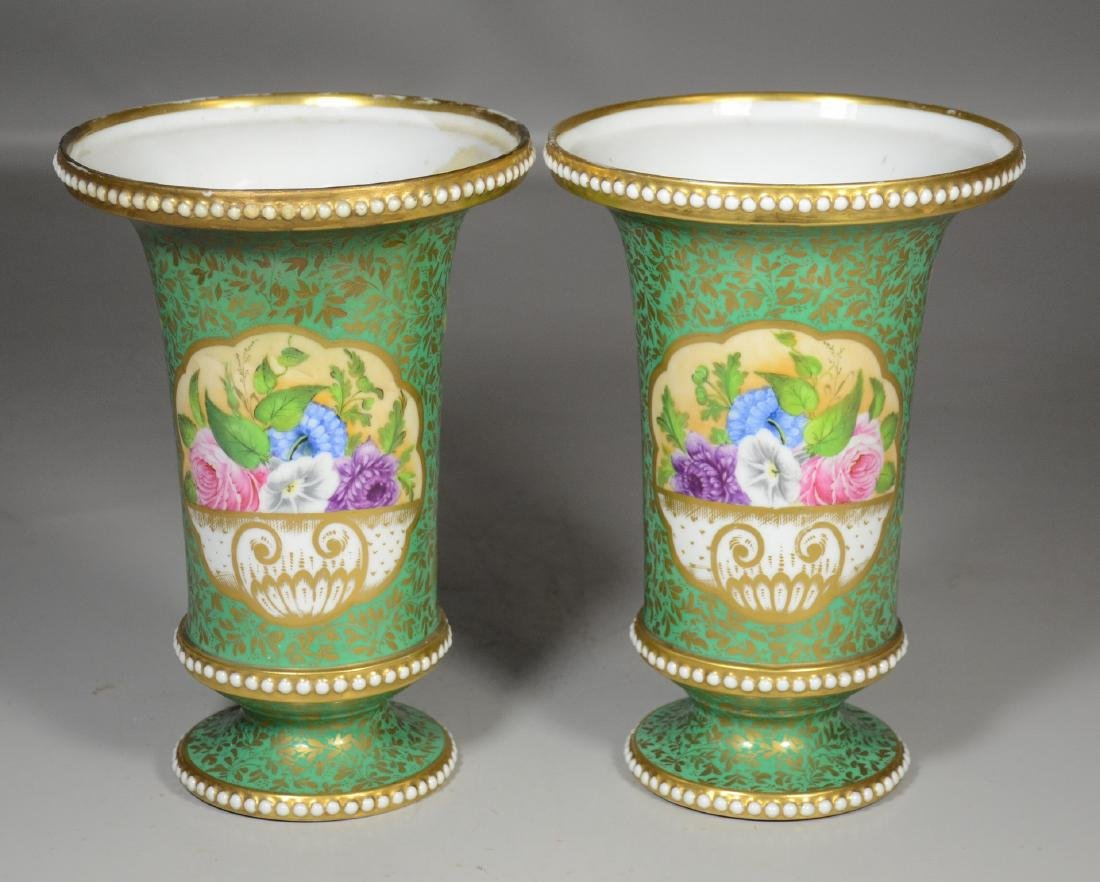 Early PR Crown Derby beaker vases with exquisite floral