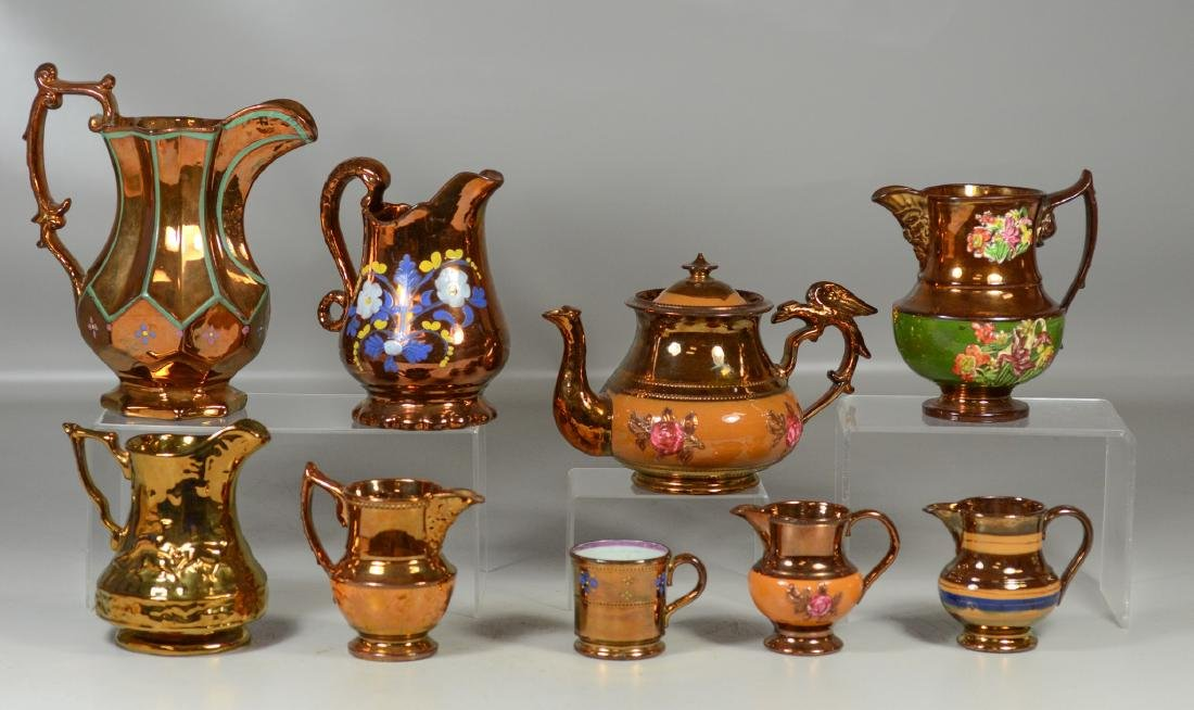 (9) pcs English copper luster to include a teapot with