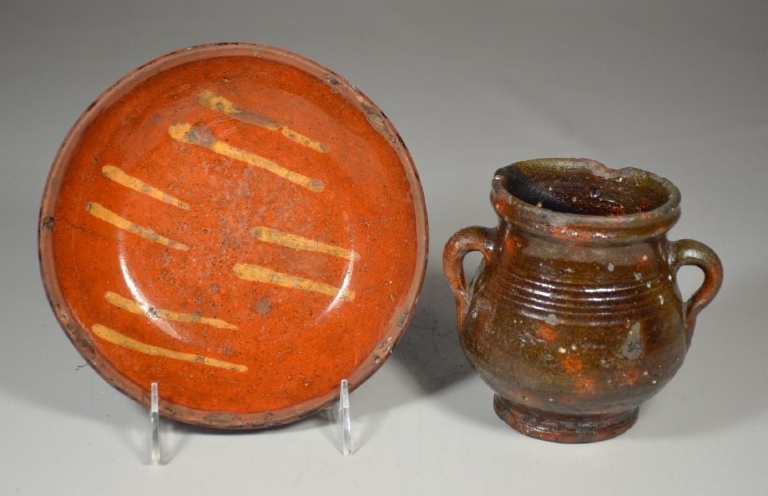 2 pcs redware, including slip decorated pie dish,
