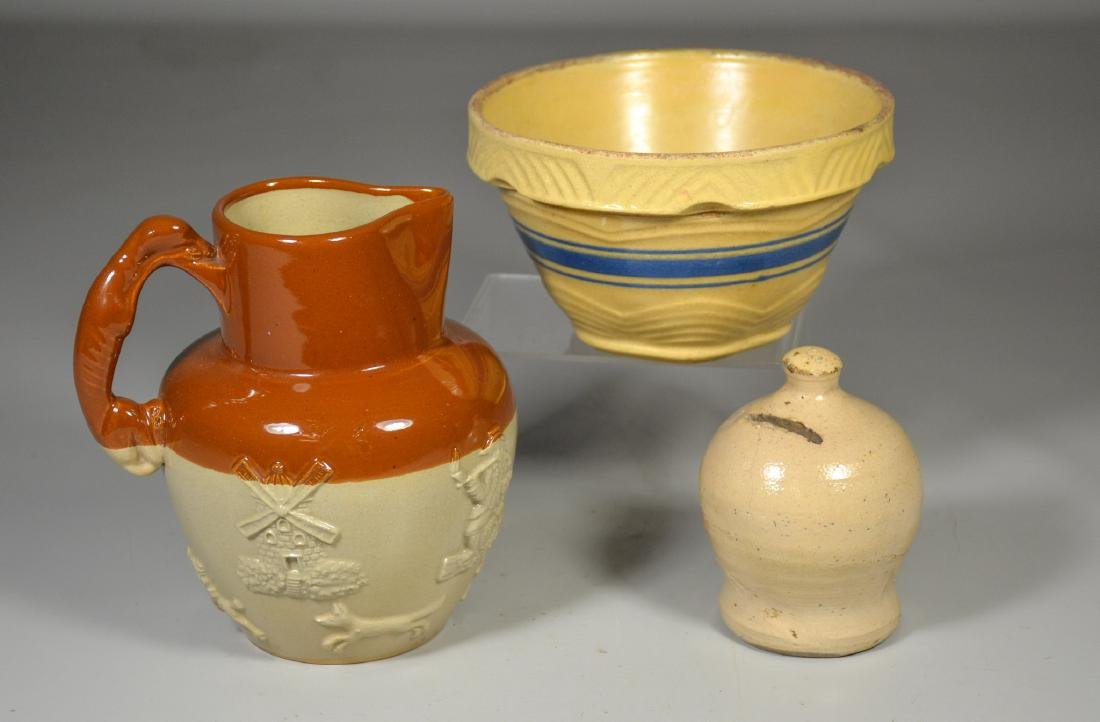 (3) pcs pottery to include small yellow bowl with