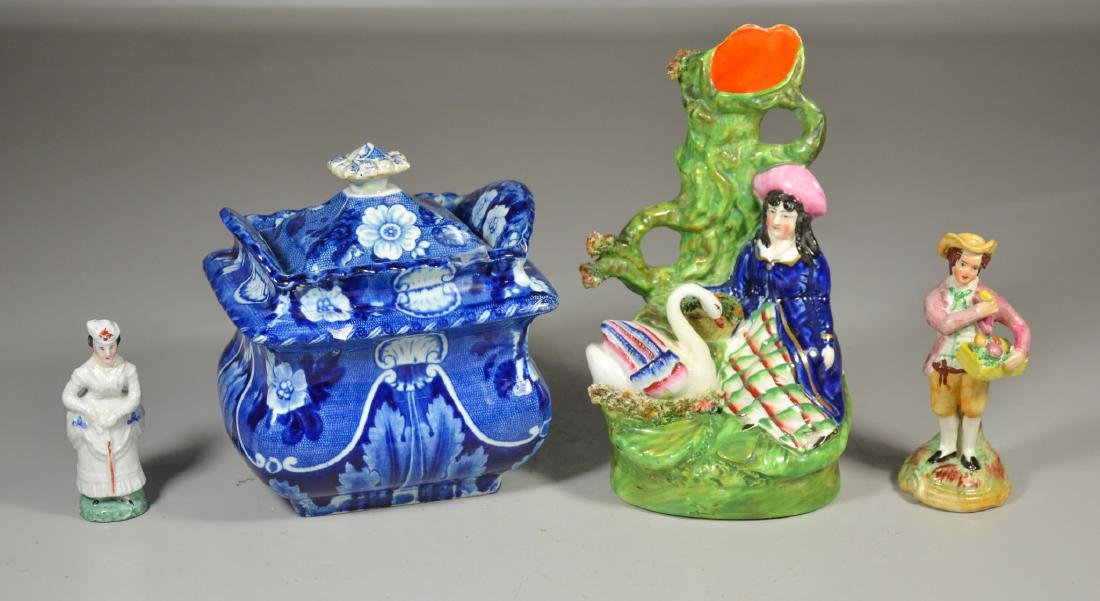 4 English Staffordshire pieces, including Clews dark