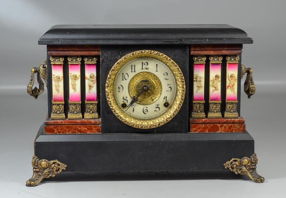 Ingraham, Bristol, Conn mantle clock with white metal