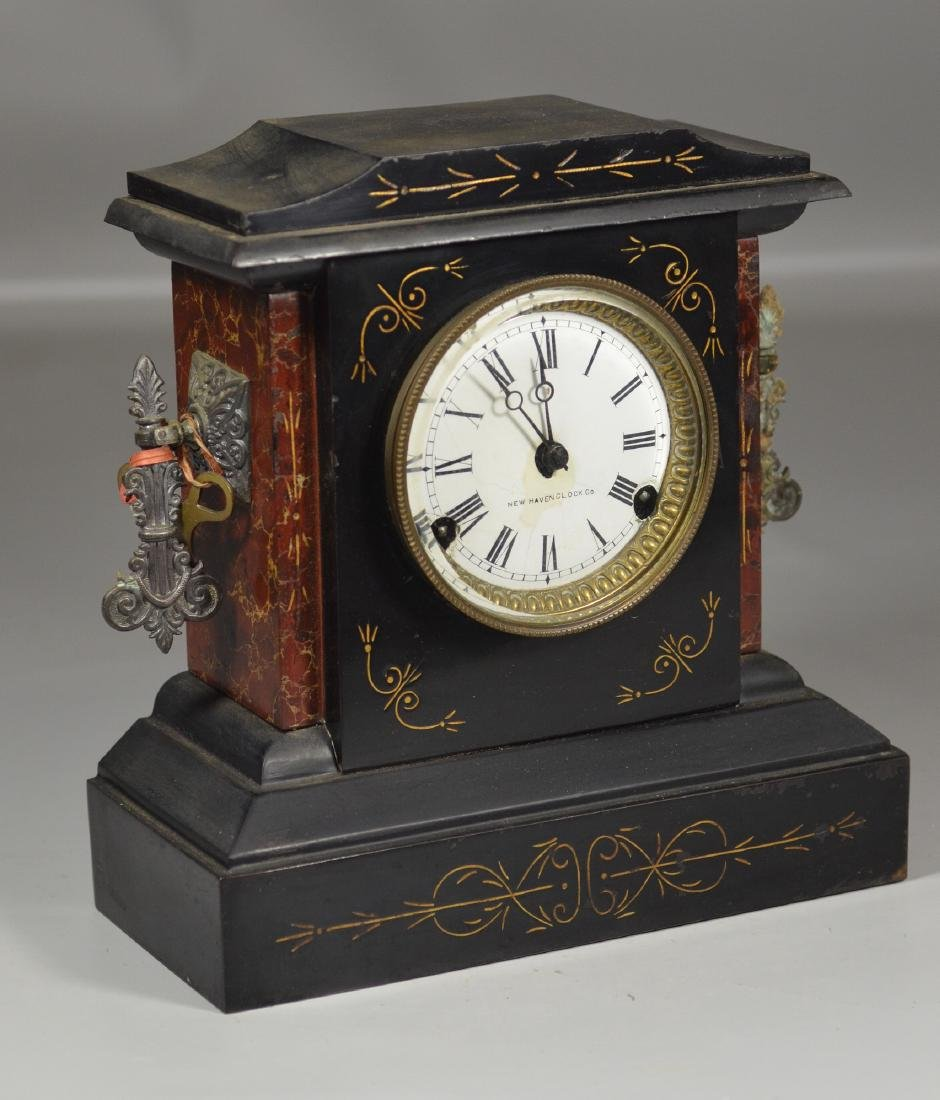 New Haven Clock Co slate and metal mantle clock with