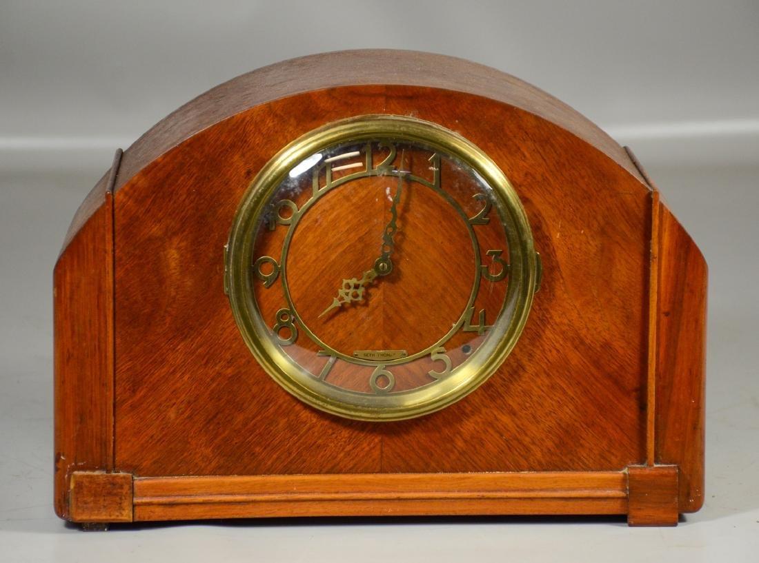 "Seth Thomas blonde mahogany mantle clock, 9-1/2"" x"