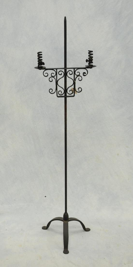 Antique wrought iron double floor candlestand,