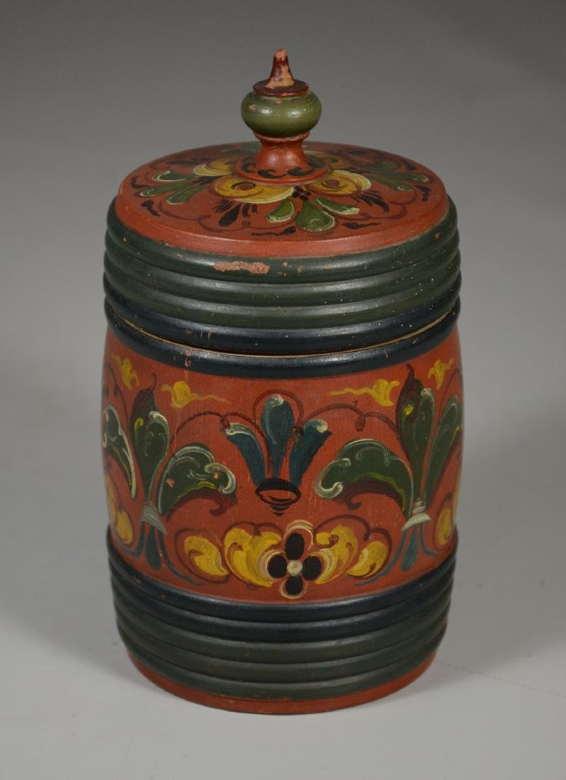 """Scandinavian covered box with rosemaling pattern, 7"""" h"""