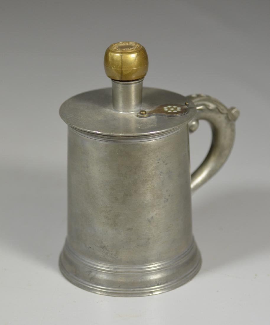 """Pewter and brass infusion pot marked """"Almaden est"""