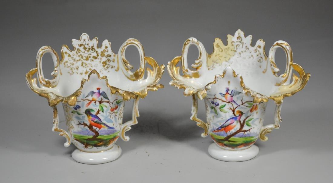 Pr Paris porcelain mantle vases with exotic bird