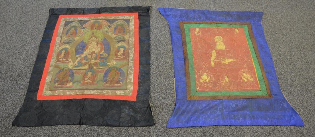 """(2) Tibetan Thangka, largest 38"""" x 31"""""""