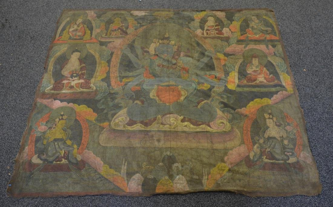 """Large Tibetan Thangka, approx 62"""" x 68"""""""