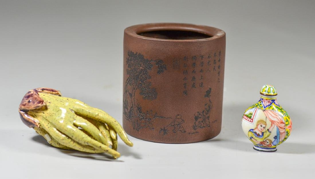 (3) Chinese items, Yixing brush pot with landscape and
