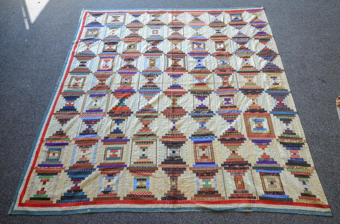 "Quilt, c 1890, titled ""Courtyard Steps"" or ""Crazy Horse"